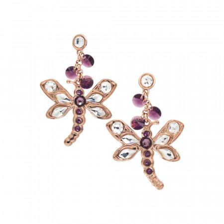 Orecchini con libellula pendente e cristalli Swarovski