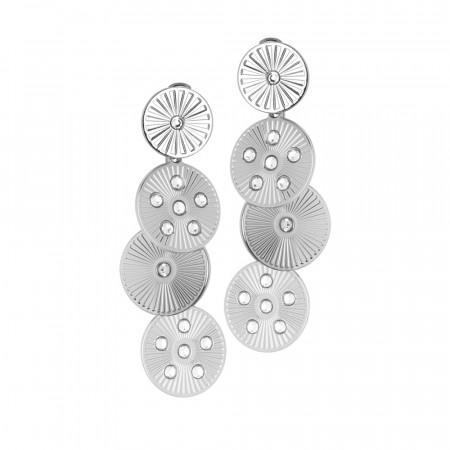 Orecchini pendenti rodiati con moduli circolari e Swarovski