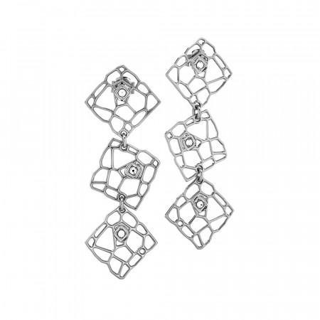 Orecchini modulari rodiati dalla trama a rete e Swarovski