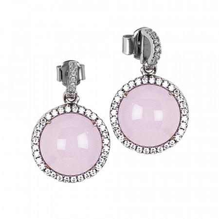 Orecchini con pendente cabochon rosa chiaro e zirconi