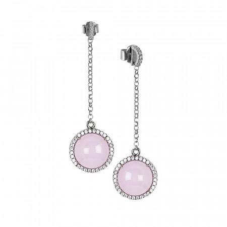 Orecchini con pendente di zirconi e cabochon rosa chiaro