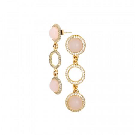 Orecchini con pendente di cabochon rosa chiaro e zirconi