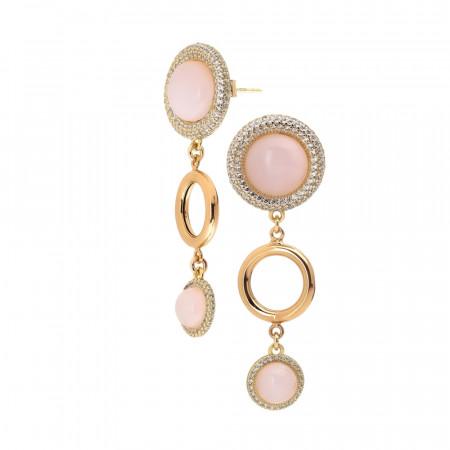 Orecchini dal pendente di cristalli rosa chiaro e cerchio liscio