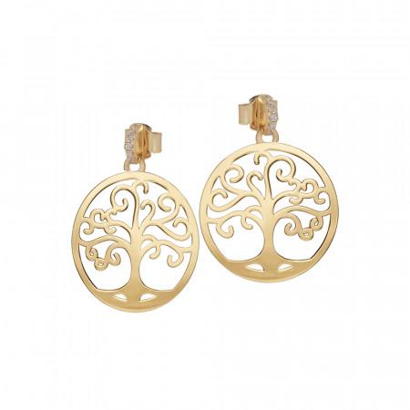 Orecchini dorati con albero della vita e zirconi