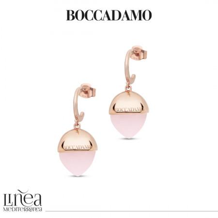 Orecchini mezzaluna con cristallo grande color quarzo rosa