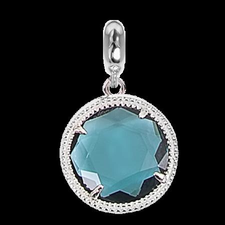 Charm in cristallo sfaccettato blu London