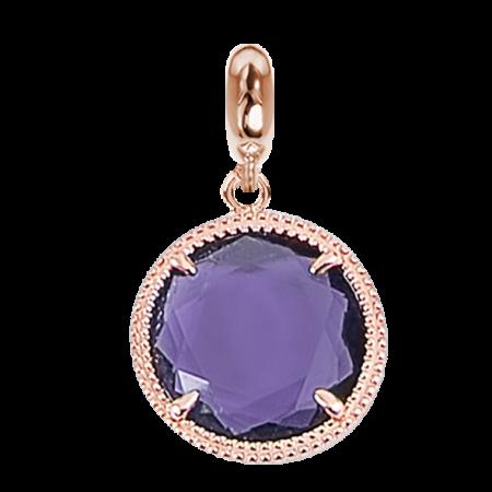 Charm rosato in cristallo sfaccettato viola
