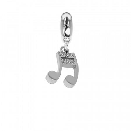 Charm a forma di nota musicale con zirconi