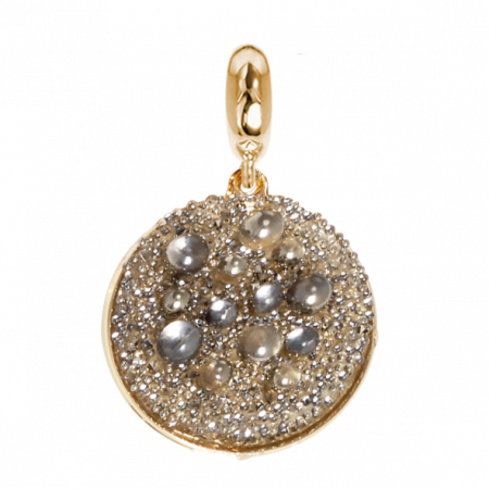 Charm dorato con superficie Swarovski galuchat metallic light gold