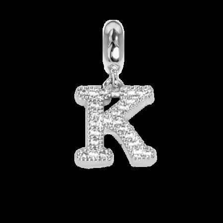 Charm con lettera K in zirconi