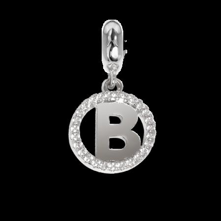 Charm circolare in zirconi con lettera B