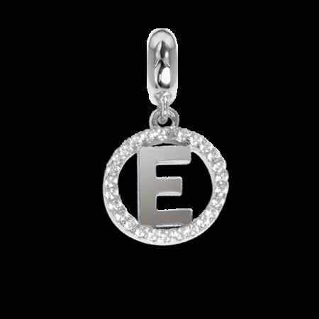 Charm circolare in zirconi con lettera E