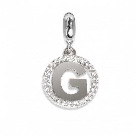 Charm circolare in zirconi con lettera G