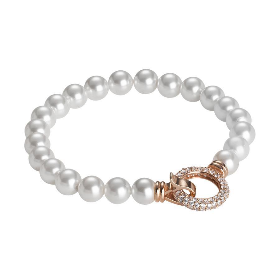 83794e783fa13b Bracciale rosato con filo di perle Swarovski e chiusura a scatto circolare  in zirconi