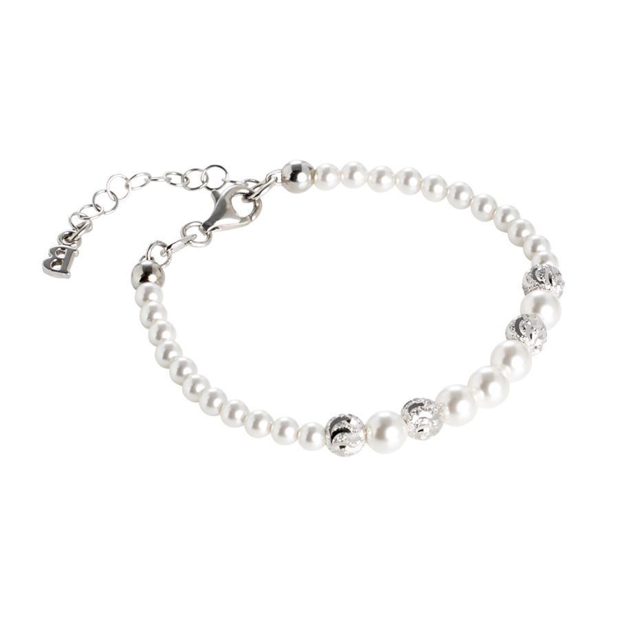 rivenditore di vendita d38db e7e23 Bracciale con perle Swarovski degradè e passanti diamantati