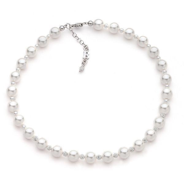 prezzo basso più amato comprare on line Collana con perle Swarovski e pavè di strass