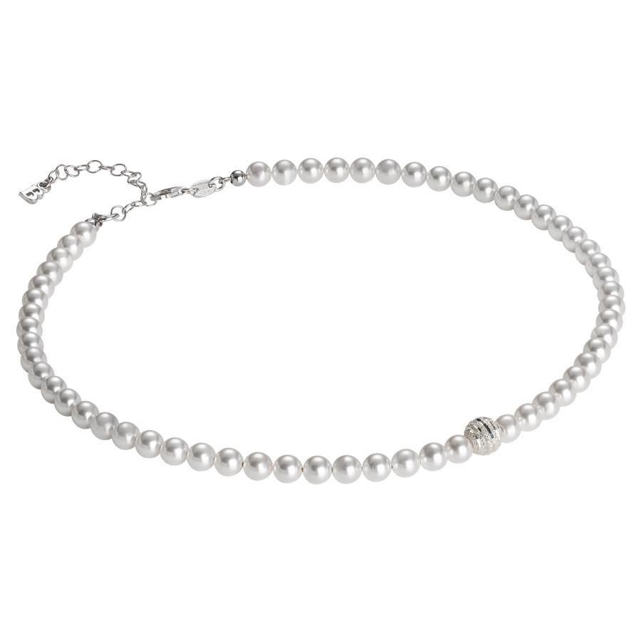 codice promozionale f3038 49531 Collana di perle Swarovski con centrale satinato in argento