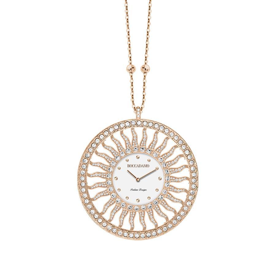 Collana Orologio In Bronzo Placcato Oro Rosa Con Swarovski