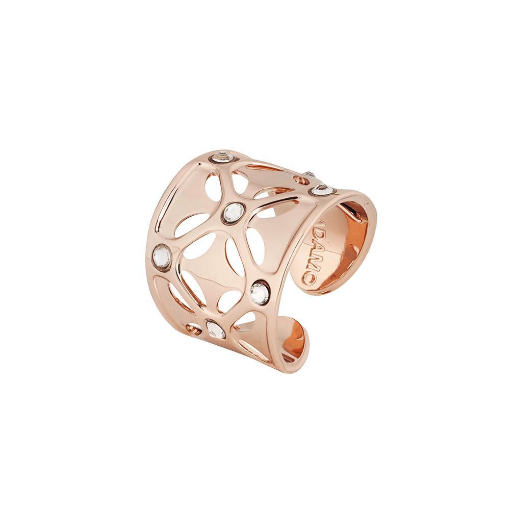 100% genuino come acquistare prezzo limitato Anello placcato oro rosa a fascia larga con Swarovski crystal