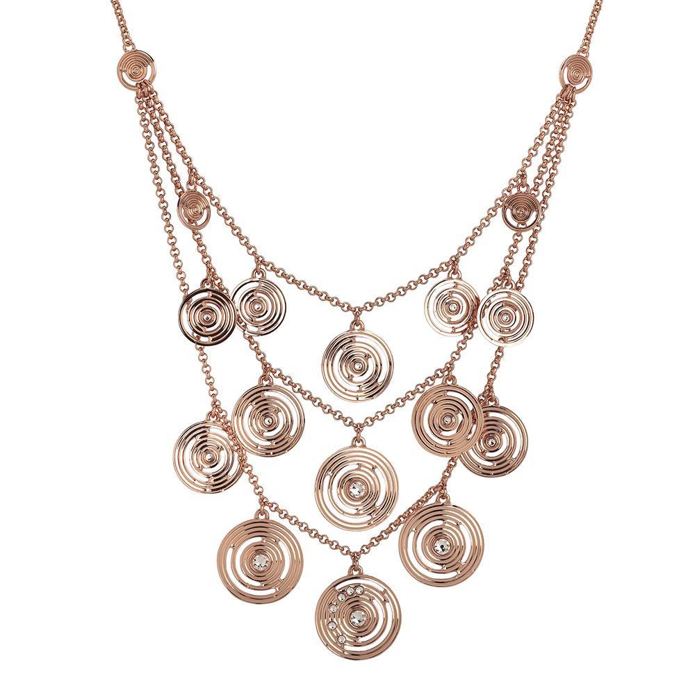 bellissimo aspetto grande vendita stili diversi Collana multifilo placcata oro rosa con pendenti concentrici e Swarovski