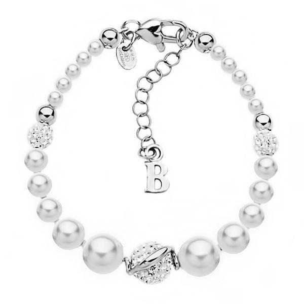 offerta speciale assolutamente alla moda outlet in vendita Bracciale in argento con perle e strass