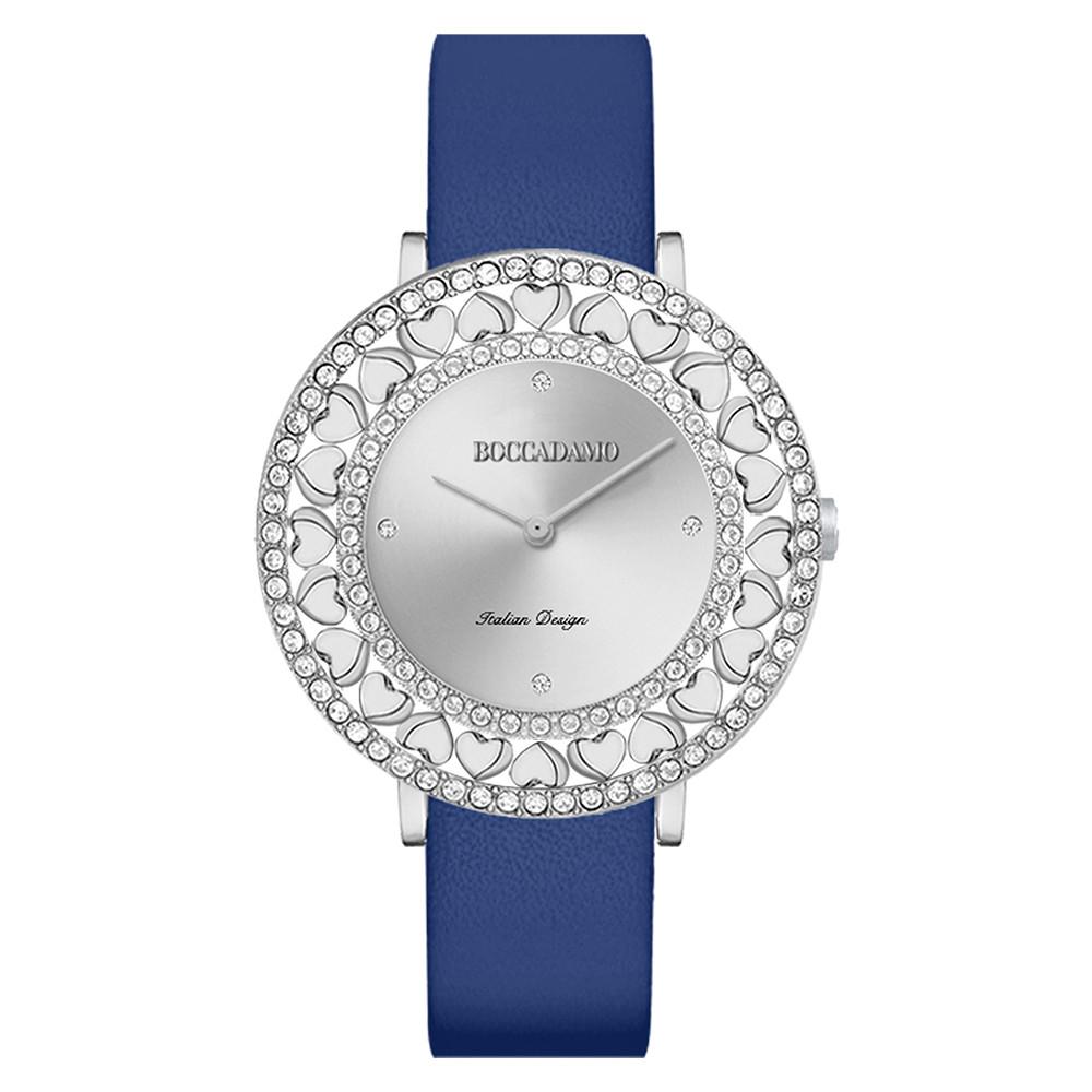 Orologio Silver Con Swarovski E Cinturino In Vera Pelle Blu