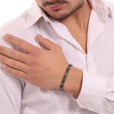 Bracciale maglia piatta con piastrina lavorata e zircone bianco