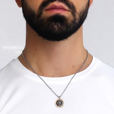 Collana con meridiana in PVD bicolor