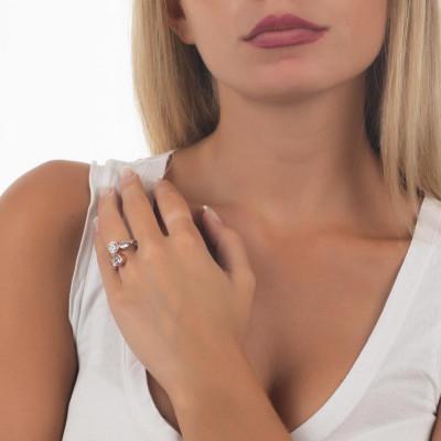 Anello aperto placcato oro rosa con zirconi taglio diamante