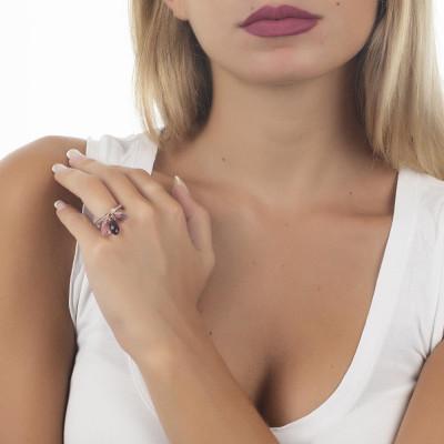 Anello in argento placcato oro rosa con ciuffetto di Swarovski dalle sfumature lilla e zirconi