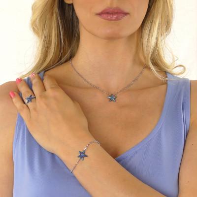 Anello con stella marina blu