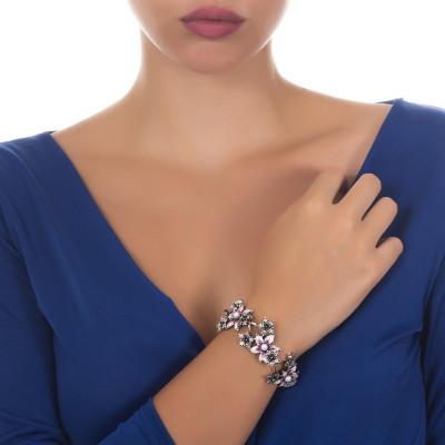 Bracciale in argento brunito con lilium dipinti e perle naturali
