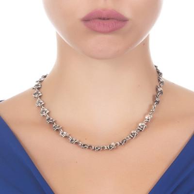 Collana con fiori di ciliegio in argento brunito