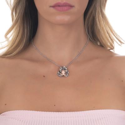 Collana in argento brunito con ranocchio placcato oro rosa pendente