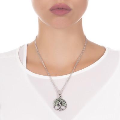 Collana doppio filo in argento brunito con con pendente circolare e albero della vita dipinto a mano