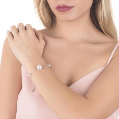 Bracciale con perle bianche Swarovski e pavè di zirconi