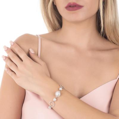 Bracciale con perle Swarovski e cerchi di zirconi