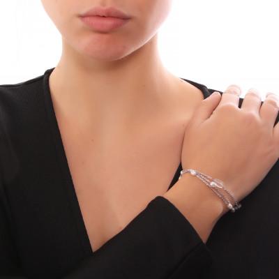 Bracciale multifilo con cristallo di rocca e perle naturali