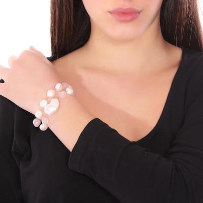 Bracciale doppio filo con perle naturali e quarzo rosa
