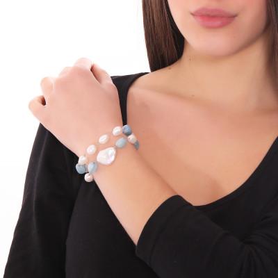 Bracciale doppio filo con perle naturali e acquamarina
