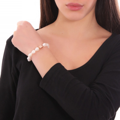 Bracciale placcato oro rosa con perle naturali scaramazze