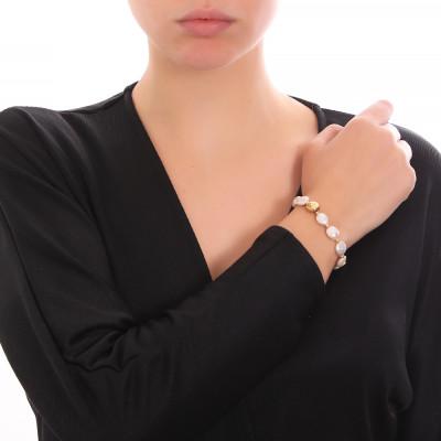 Bracciale placcato oro giallo con perle naturali a bottone
