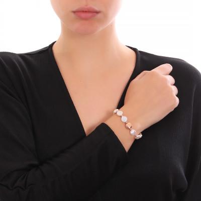 Bracciale placcato oro rosa con perle naturali a bottone