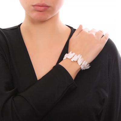 Bracciale con perle naturali barocche unite e quarzo citrino