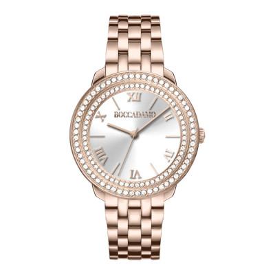 Orologio solo tempo donna rosa con quadrante silver e doppia ghiera di Swarovski