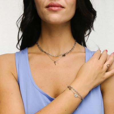 Bracciale doppio filo con chiave e cuore-lucchetto