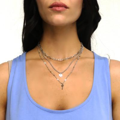Collana multifilo con chiave e cuore-lucchetto