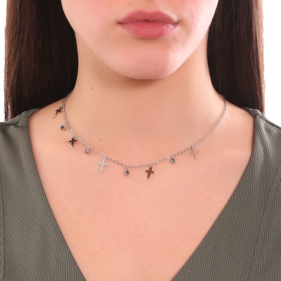 Collana con cristalli black diamond e croci