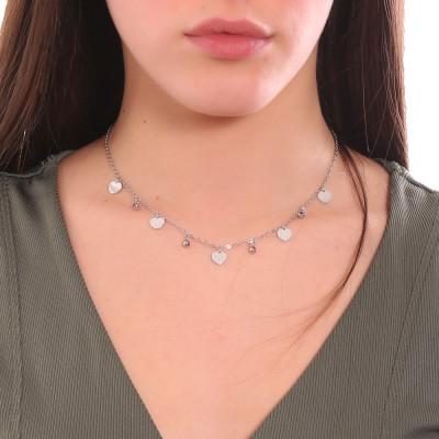 Collana con cristalli light ametist e cuori