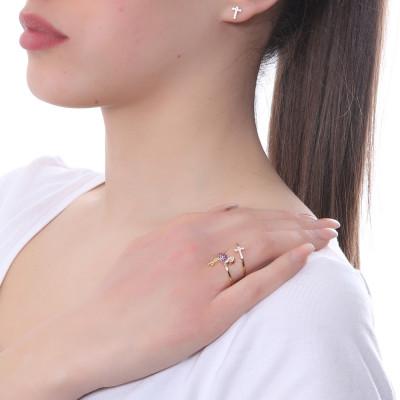 Anello placcato oro rosa con fenicottero di zirconi